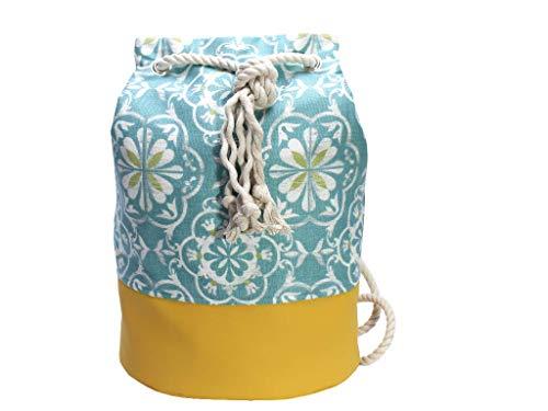 Blau gelber Rucksack / Seesack mit ethno Mandala Motiv. Aus hochwertigem Canvas mit weißer Kordel. Vegane Yoga - Sporttasche - 5