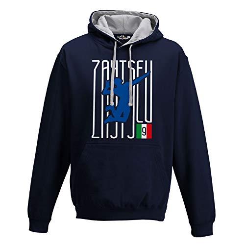 KiarenzaFD Felpa Cappuccio Bico Volley Ivan Lo Zar Zaytsev Italia Pallavolo Schiacciata M Navy