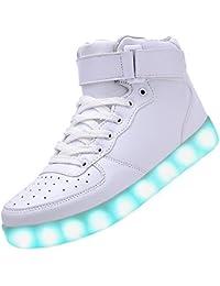 SPEEDEVE LED Zapatos 7 Color de La Zapatillas con Luces USB de Carga- Niño/Adulto(Rosa/Blanco/Negro/Rojo)