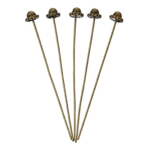 Housweety 30PCs Bronze Color 3D Hat Head Pins Findings 55x0.7mm