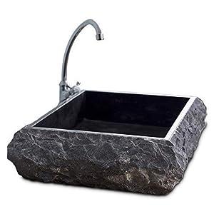 Lavabo de una sola pieza, lavabo de tocador de baño de mármol de piedra maciza natural, lavabo de encimera gris texturizado rústico – ancho 50 cm, diámetro 40 cm, altura 13 cm, pesa 38 kg – Cemlux