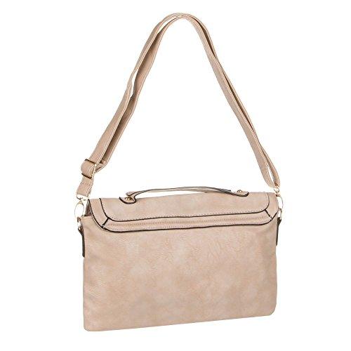 Borsa da donna, misura media borsa borsa a tracolla, in ecopelle, ta ta-8030 marrone