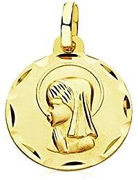 Medalla oro 9k Virgen Niña 14mm. [AB3286GR] - Personalizable - GRABACIÓN INCLUIDA EN EL PRECIO