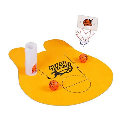 Relaxdays WC Basketball, Toiletten Basketball Set mit 3 Bällen, Korb, Ballhalter & Matte, WC Basketballspiel, orange