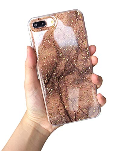 Hishiny iPhone 8 Plus Hülle, iPhone 7 Plus Handyhülle, Soft Silikon Ultra Dünn Case Cover Kratzfest Schutzschale TPU Schutzhülle Backcover für iPhone 7 Plus/8 Plus (ZKaffee) -