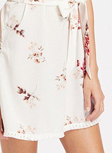 ACHICGIRL Women's Spaghetti Strap Floral Printed Mini Fringed Dress with Belt White