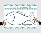 Herzl-Manufaktur Gästebuch zur Taufe Leinwand 40x30cm Fisch für Fingerabdrücke Partyspiel Erinnerungsbild Fingerprints (blau)