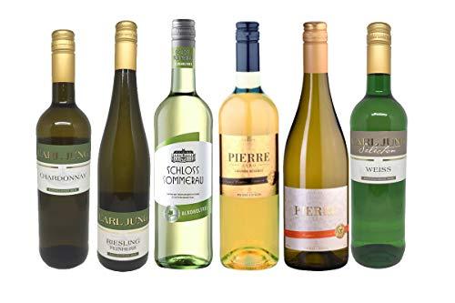 Alkoholfreies Weißwein Paket - Wein ohne Alkohol - Pierre Zero, Carl Jung, Schloss Sommerau u.a. Chardonnay, Riesling (6 x 0,75l)