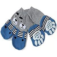 Meioro Calcetines Antideslizantes para Perros, Protectores de Pata Transpirable de Algodón con Control de Tracción para Ropa Interior Conjunto de 4 Perros Grandes y Medianos (3XL, Azul)