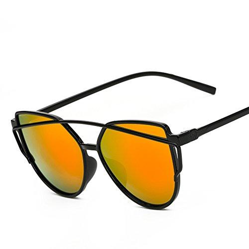 Twin-Träger klassische Frauen Metallrahmen Spiegel Sonnenbrille Cat Eye Brillenmode Reflektierenden Spiegel (Red (Eye Cat Red Brille)