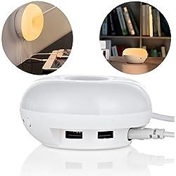 Lampada Led sensibile alla luce, Beeiee® caricatore da tavolo 2 porte USB con LED Desk Lamp (sensibile alla luce Led Lamp)