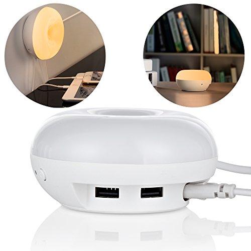 Die lichtempfindlichen LED Lampe, Beeiee® 2-Port USB Desktop Ladegerät mit LED Schreibtischlampe