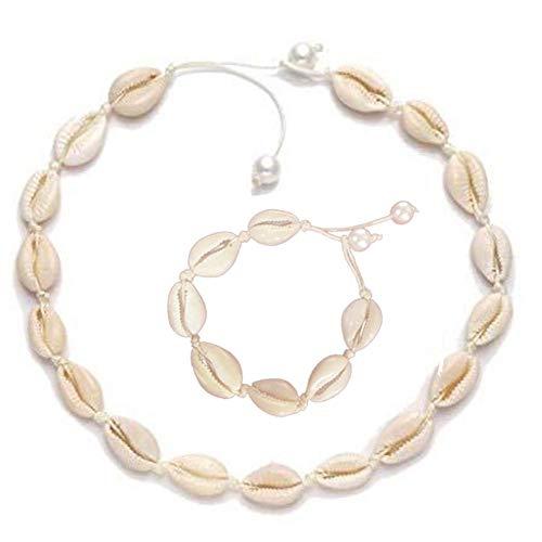 Decaden Natural Choker,Armband-Set Modische Natürliche Muschel Imitation Perle Wachs Seil Gewebte Halskette Und Armband-Set