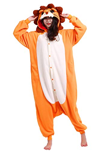 Unisex Kigurumi Jumpsuit Tier Pyjamas Kostüm Fasching Onesie Damen Herren Karneval Cosplay Nachtwäsche, Orange Löwe