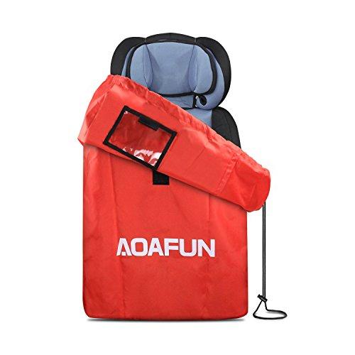 Aoafun Gate Check Reisetasche mit Riemen, wasserdichter Rucksack für Kindersitze, Autositze, Booster, Kinderwagen, Kinderwagen, Säuglingsträger und Wheelie - Rot