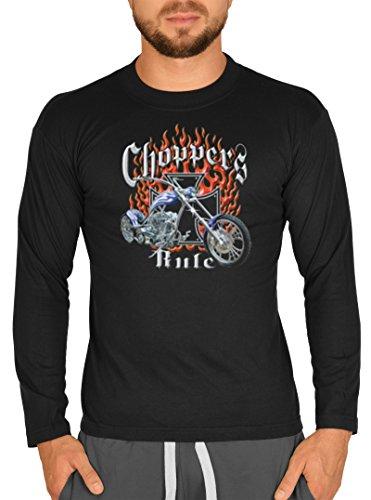 Biker Hemd - Gothic - Choppers Rule - Langarm-Shirt für echte Kerle Schwarz