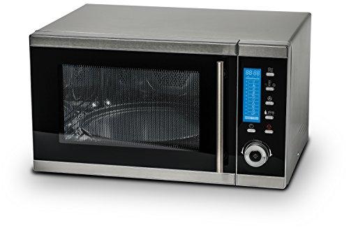 MEDION MD 15501 4 in 1 Mikrowelle mit Grill / 25 Liter / 900 Watt / 1100 Watt Grill / 2500 Watt Heißluft / 10 Automatik-Programme / silber