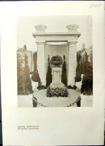 Price comparison product image Old Original Antique Victorian Print Studio 1911 Grave Monument Hans Dammann Familie Hansen 260G335