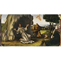 HeritageArtDecor Saint Francis Receiving The Stigmata - Fine Art Print on Fine Art Canvas - Print ON Canvas ONLY -NO Frame - Image Size is 40 x 21 Inch Wall Painting