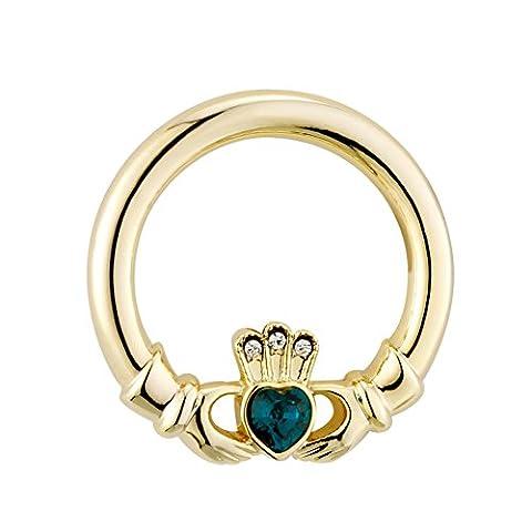 Gold Plated Celtic Irish Claddagh Green Crystal Brooch. Celtic Jewellery