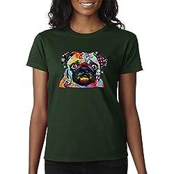 Perrito de neón fluorescentes estrellas amor perros Pug Life para mujer T-Shirt S-2X L