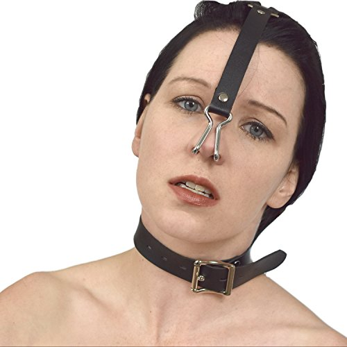Fetisch Edelstahl Nasenhaken und Halsband verschließbar (Kunstleder)