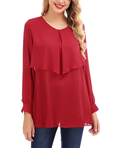 Fisoul donna casuali manica lunga chiffon con o scollo arredamento camicie orlo increspatura cime vino rosso xxl