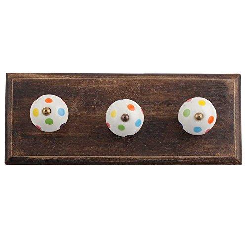 Dot Robe (indianoshelf handgefertigt Kunst von Holz Schiene Multicolor Dot Wand Robuster Haken FOR Robe Mantel Towel Schlüssel Bags Haus Küche mit Schrauben)