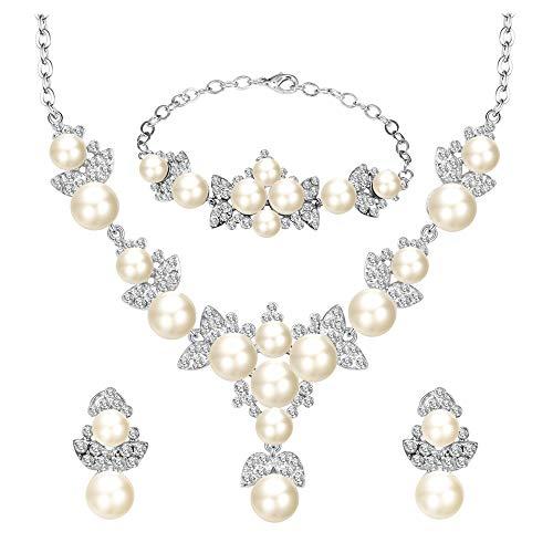 BiBeary Damen Kristallen künstliche Perle elegant Blatt Blume Schmuck Set Halskette Kette Ohrringe Armband Armkette klar Silber-Ton