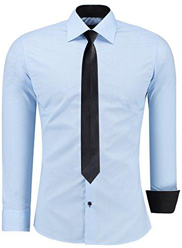 J'S FASHION Herren-Hemd – Slim Fit – Bügelleicht – Business Freizeit Hochzeit Hellblau - XXL - Krawatte