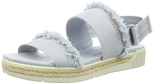 Calvin Klein Jeans Damen Muriel Fringe Canvas Offene Sandalen mit Keilabsatz, Türkis (Cby), 38 EU