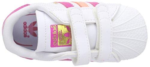adidas - Superstar Crib, Scarpine primi passi Unisex – Bimbi 0-24 Bianco (Weiß (Ftwr White/Eqt Pink S16/Sun Glow S16))