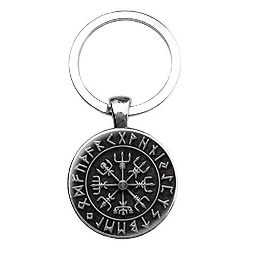 DCFVGB Schlüsselbund Mode Wikinger Symbol Steampunk Schlüsselanhänger Anhänger Kompass Schlüsselbund Für Männer Frauen (Patent-symbol)