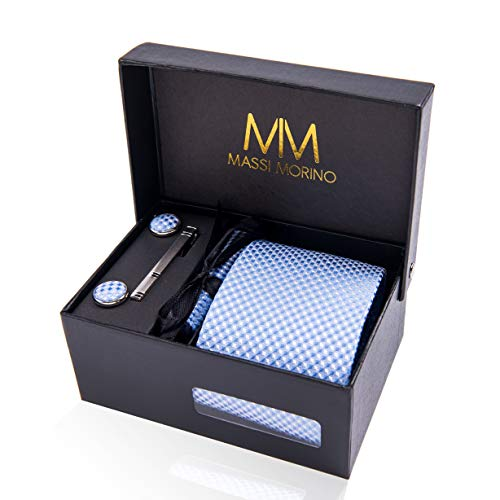 Massi Morino ® Herren Krawatte (Box Set) inkl. Einstecktuch + Manschettenknöpfe + Krawattennadel mit Geschenkbox (Hellblau)