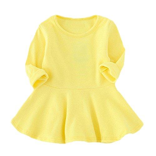 YWLINK MäDchen SüßIgkeitsfarbe Klassisch Lange ÄRmel FrüHling Party Kleiden Volltonfarbe Prinzessin Freizeit O-Kragen Kinder Regenschirm Kleid(Gelb,92)