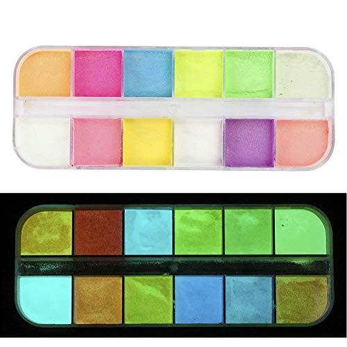 Glow in the Dark Pulver,12 Farben,Sicherheitsleuchtendes Pigment-Pulver für DIY Nagelkunst,Kunstharz,Schleim,Nägel,Musikfestivals, Konzerte,Halloween (Minuten Halloween-make-up In 5)