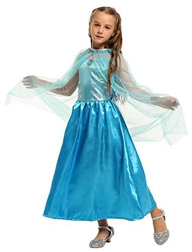 Schnee Winter Kostüm Königin - DEMU Kinder Prinzessin Kostüm für Karneval Verkleidung Party Mädchen Party Kleid Schnee Blau Kleid + Umhang 120-130cm (7-9 Jahre)