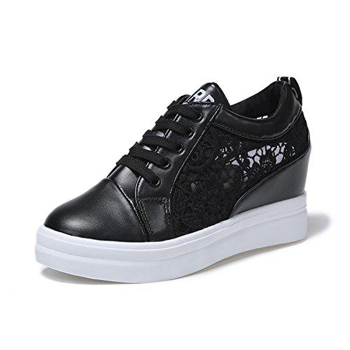 Femme Chaussures de sport Femmes Fashion Sneakers occasionnels printemps été Sneakers Confortable Portable Sport Chaussures Course Chaussures Plate-forme Chaussures (35-39) Noir, Blanc Sports et Loisirs