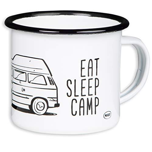 T3 - EAT Sleep Camp - Explore Drive Repeat - Hochwertiger Emaille Becher mit Bulli T3 mit Hochdach Motiv - leicht und bruchsicher, für Camping, Vanlife - von MUGSY.de -