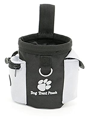 AMZNOVA Dog Treat Training Pouch, Pet Treat Bags Carries Dog Little Toy, Dog Food and Keys, With Adjustable Strip, Trash Bag Dispenser for Travel or Outdoor Use