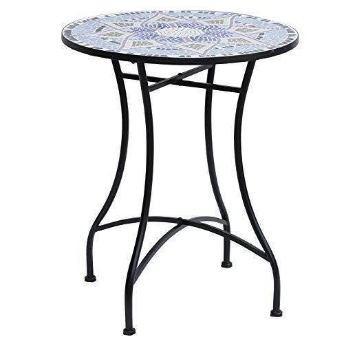 Outsunny Gartentisch Mosaiktisch Balkontisch Beistelltisch Seviertisch rund Stahl + Keramik Blau + Weiß Ø60 x H71 cm