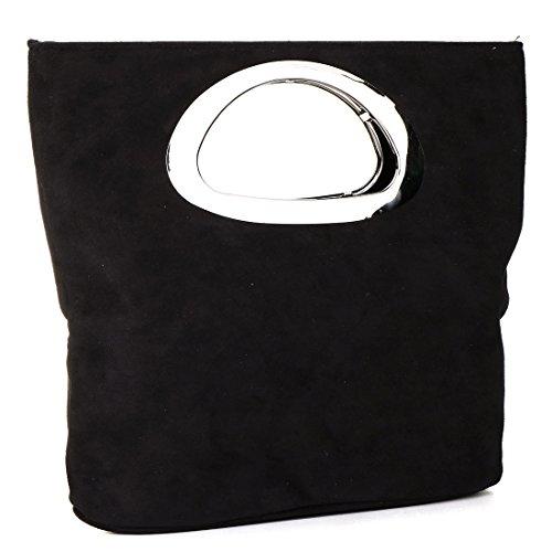 Donna borsa in pelle scamosciata sera scamosciata pochette borsa casual borsetta Black