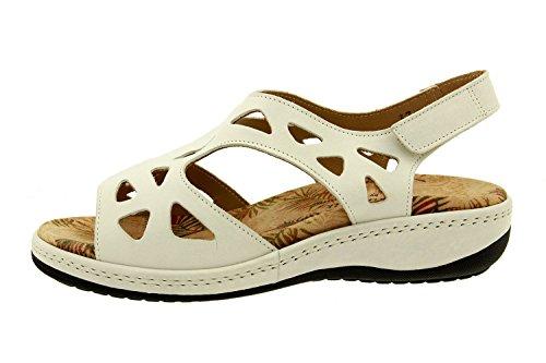 Komfort Damenlederschuh Piesanto 8905 sandale klettverschluss herausnehmbaren einlegesohlen bequem breit Weiß