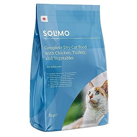 Amazon-Marke: Solimo Komplett-Trockenfutter für erwachsene Katzen mit Huhn, Truthahn und Gemüse, 1er Pack (1 x 3 kg)
