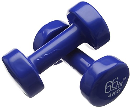 66Fit Manubri in Ghisa Rivestiti in Vinile, Set 2 pezzi, Blu (blau), 4 kg
