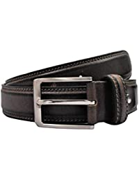 POLO INTL Men's Leather Belt (Brown, 34 inches)