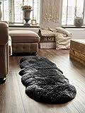 Yukon International Extra großes Schafslammfell, Schwarz, Doppel-Lammfell Teppich
