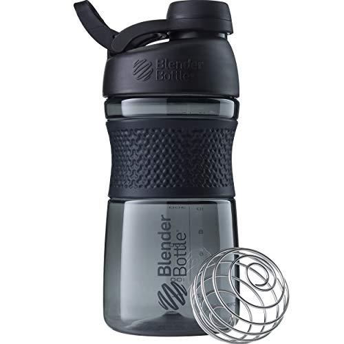 BlenderBottle Sportmixer Twist Tritan Trinkflasche mit BlenderBall, geeignet als Protein Shaker, Eiweißshaker, Wasserflasche oder für Fitness Shakes, BPA frei, skaliert bis 500 ml, 590 ml, schwarz