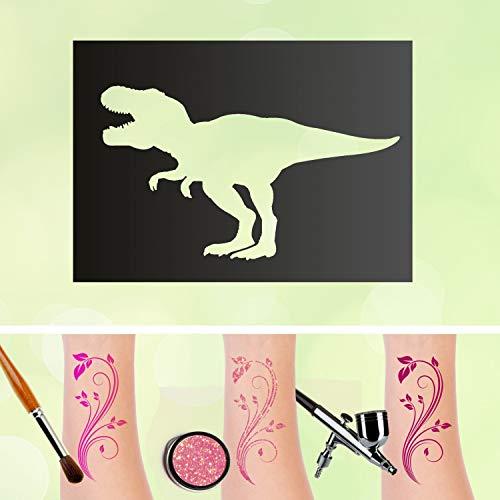 (Tattoo Schablone T-Rex Tyrannosaurus Dinosaurier Dino Selbstklebend Kinder Schminken Airbrush Größe 10 Stück)
