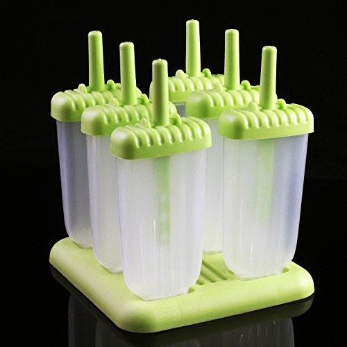 comprare on line KEESIN Popsicle stampi per ghiaccioli riutilizzabile Ice Cream stampi set di attrezzi con vassoio, 6 set Popsicle stampi per ghiaccioli riutilizzabile Ice Cream stampi set di attrezzi con vassoio, 6 set Type A prezzo